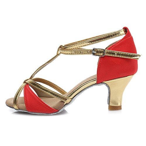 HROYL Zapatos de baile/Zapatos latinos de satín mujeres ES7-F55 5CM Rojo