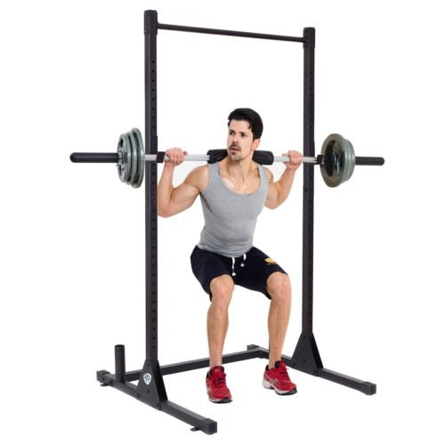 Goplus Strength Power Lifting Rack Squat Bench Deadlift Curl Pull Up Cage Weight Stand