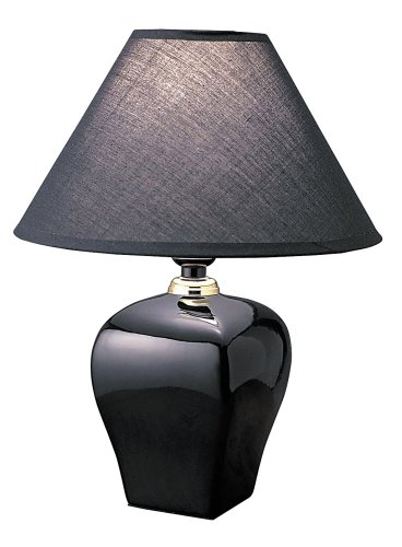ORE International 608BK 15 Ceramic Accent Table Lamp, Black - bedroomdesign.us