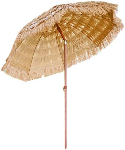 FOREVER BAMBOO 6.5 Ft. Tiki Thatch Tilt Beach and Patio Umbrella Hawaiian Style Palapa with UV Protection 6.5 Ft.