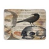Custom Doormats Edgar Allan Poe The Raven Skull Home Door Mats 16 x 24 inches Entrance Mat Floor Rug Indoor/Outdoor/Front Door/Bathroom Mats Rubber Non Slip