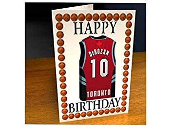 Tarjetas de cumpleaños con diseño de camiseta de baloncesto de la NBA (personalizable), color Toronto Raptors NBA Basketball Greeting Card: Amazon.es: ...
