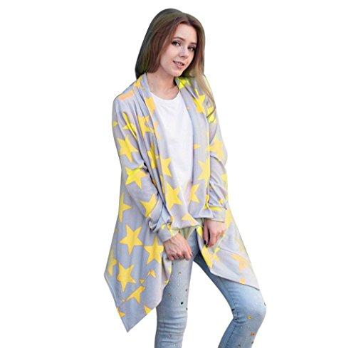 Tongshi abrigo Las mujeres de manga larga irregular Cardigans Outwear Children's capa ocasional Tops Amarillo