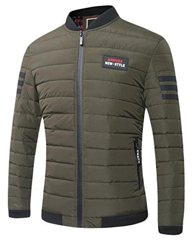 EKU Men's Athletic Zip-Up Military Baseball Down Jacket Coat ArmyGreen US XS