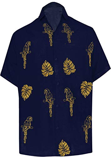 "LA LEELA Rayon Embroidery Camp Party Shirt Navy Blue 7 Large | Chest 44"" - 48"""