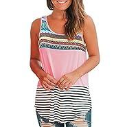 AOJIAN Women's T Shirt Sleeveless Shirts Boho Ethnic Printed Tunic Blouse Tanks Vest Tops