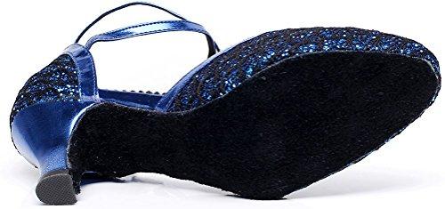 Abby Womens Latin Salsa Tango Cha-cha Feest Bruiloft Halterhak Ronde Neus Pu Dansschoenen Blauw