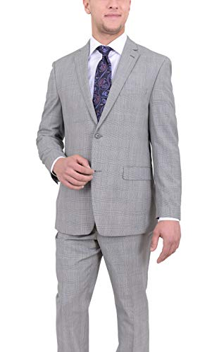 Ital Uomo Classic Fit Light Gray Glen Plaid Two Button Wool Suit