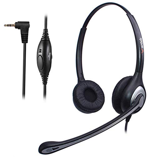 Wantek Phone Headset with 2 5mm Jack, N/C Mic & Volume Mute Controls,  Corded Telephone Headsets Binaural For Cordless Phones AT&T ML17939 TL86109