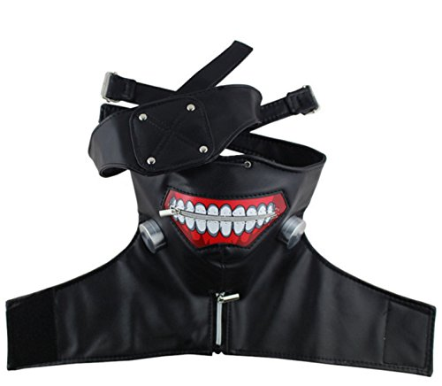 New 2018 Tokyo Ghoul Kaneki Ken Adjustable Zombie Mask Halloween Cosplay PU Leather Mask]()