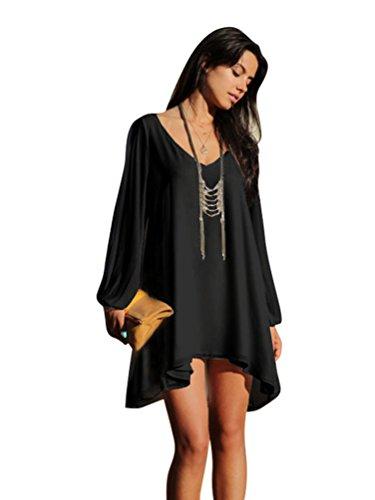 NiSeng Donna Casual Estate Plus Size Tinta Unita Manica Lunga Orlo Irregolare V-collo Abito Corto Mini Vestiti Tunica Camicia Vestito Nero L