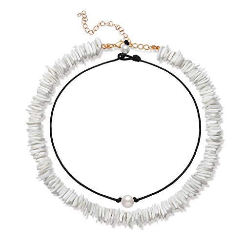 (Boderier Shell Choker Necklace Mixed 2 Strands Hawaii Beach Puka Chip Shell Necklace Natural Freshwater Pearl Choker Necklace Jewelry for Women Men (White-2))