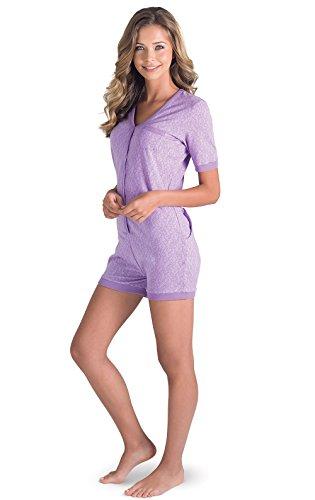 PajamaGram One Piece Pajamas for Women - Onesie with Drop Seat, Purple, MD 8-10