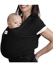 Écharpe de Portage, Lictin l'Echarpe Portage Fait de Coton Elastique, Écharpe Multifonctionnel pour les Nouveau-nés et Bébés Jusqu'à 15 kg, Echarpe de Portage bebe Gris (noir)