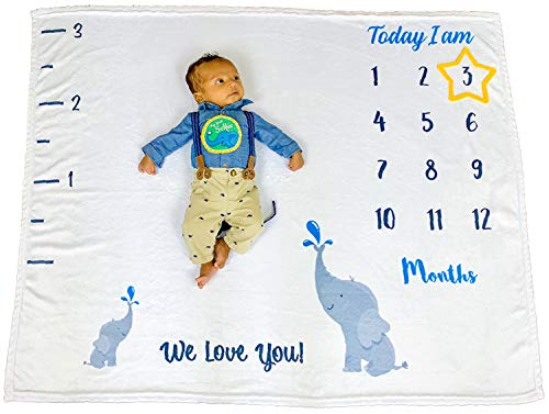 Infant.ly – Monthly Baby Milestone Fleece Blanket (48″ x 40″) | Adorable Elephant Design with Yellow Felt Star Marker & Vinyl Stickers | Best Baby Shower Gift | Record & Photograph Growth & Memories