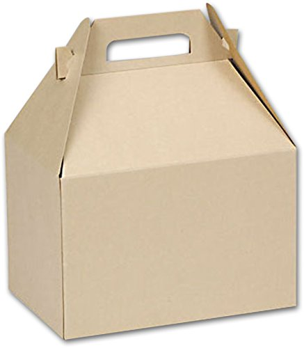 Natural Kraft Large Gable Boxes, 9 x 6 x 6'' (100 boxes) - BOWS-BXNATL by Miller Supply Inc (Image #1)'