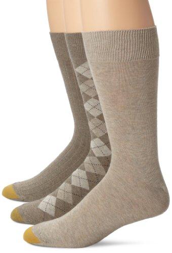 Gold Toe Men's Classic Argyle Sock, 3 Pack, Barley Diamond/Oatmeal Flat/Barley Rib, 10-13 (Socks Dress Tan)