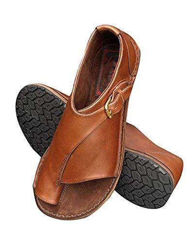Minetom Women Comfy Platform Sandal Shoes Summer Beach Travel Shoes Stylish Clip Toe Flip Flops Peep Toe Flat Shoes Brown 9.5 M US (Best Stylish Travel Shoes)