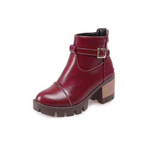 High heels, belt buckle, zipper, short boots, round head, Martin boots gules