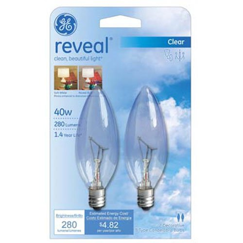 GE Lighting 48701 40-Watt Reveal Blunt Tip B10, 2-Pack - 40w Reveal Candelabra