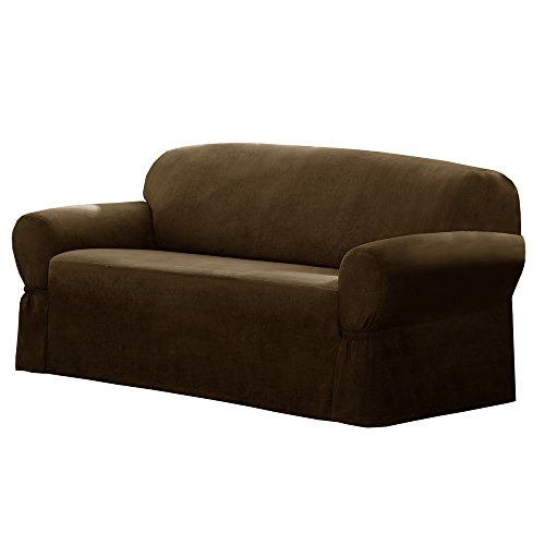 Maytex Faux Suede Sofa Slipcover, Chocolate