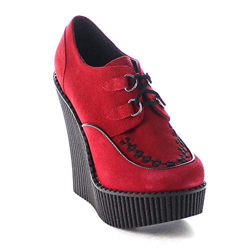 Demonia Creeper-302, Scarpe da Ginnastica Donna Red Vegan Suede