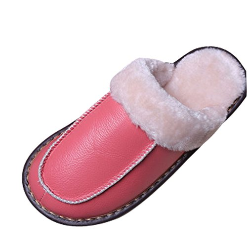 Cattior Womens Fur Lined Solid Warm Leather Slippers House Slippers Pink eAsCq