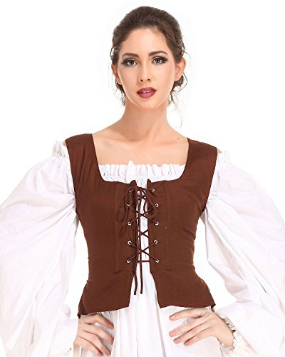 Pirate Wench Peasant Renaissance Medieval Costume Corset Bodice C1051 [Chocolate] (X-Large)