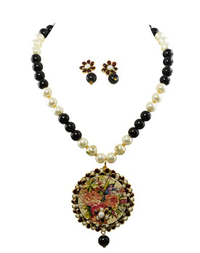 - Tripti Indian Hand Beaded Black and White Pearls Necklace Set with Painted Pendant and Ear Drops for Women and Girls