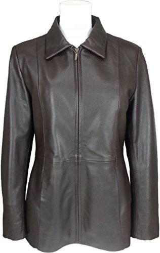 UNICORN Femmes Classique Milieu Longueur Manteau - Réel cuir veste - Marron Nappa #HJ