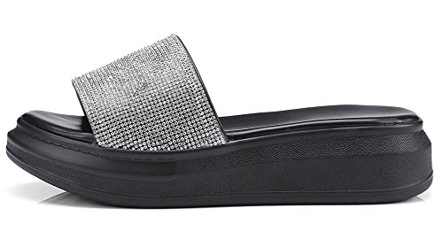 Plate Noir Strass Chaussure Confortable Femme Mules Plateau Easemax nx0pSE