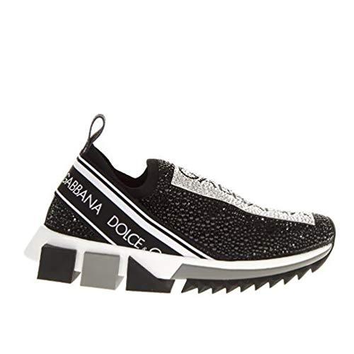 Dolce e Gabbana Women's Ck1644az1448s574 Black Crystal Slip On Sneakers