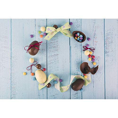 (Leyiyi Easter Backdrop 10x8ft Photography Backdrop Chocolate Egg Grid Ribbon Blue Distressed Broken Stained Wooden Wall Easter Celebration Backdrop Children Baby Portrait Studio Prop)