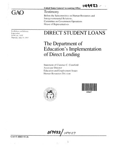 Direct Student Loans  The Department Of Educations Implementation Of Direct Lending