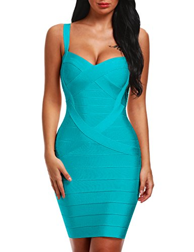 Bqueen Women's Spaghetti Strap Sexy Bodycon Bandage Dress BQ1636-1 (L, Green)