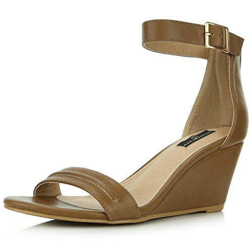 Design Strap Women's Ankle Platform Shoes Pu Fashion Wedge Camel Low DailyShoes Summer Heel Buckle Sandals XxT4Snn