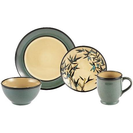 Gourmet Basics Belmont Round Blue Stalks 32 Piece Dinnerware Set Service For 8
