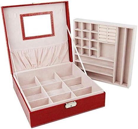 ジュエリーボックス ジュエリーボックス2層PUレザージュエリーディスプレイケースロックとミラーを使用すると、ジュエリーチェスト指輪イヤリングブレスレット アクセサリー 収納 ジュエリー収納ボックス