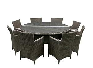 Verde 8 habitación asiento Set de ratán muebles de jardín Half Moon - Weave Leisuregrow