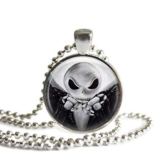Jack Skellington 1 Inch Silver Plated Nightmare Before Christmas Pendant Necklace -