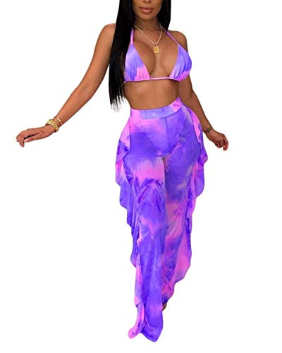 Two Piece Outfits for Women - Sexy See Through Halter Neck Bra Crop Top Ruffle Long Pants Purple M ()