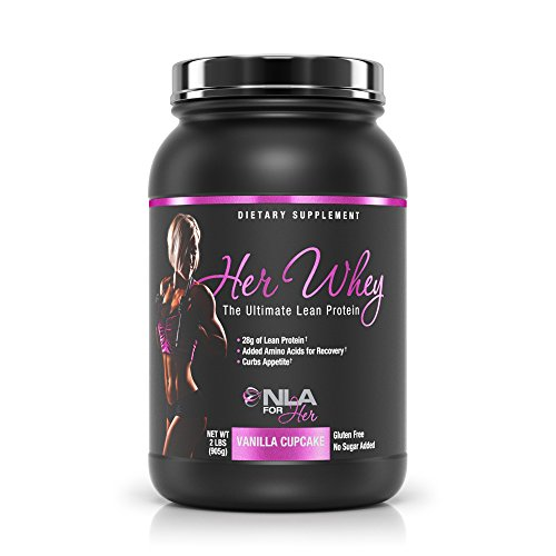 NLA for Her - Her Whey - Ultimate Lean Whey Isolate Protein - 28g of Lean Protein, Added Amino Acids for Recovery, Builds Muscle, & Helps Curb Appetite - Vanilla Cupcake - 2 Lb Tub (Recovery Ultimate)