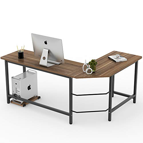 Tribesigns Modern L-Shaped Desk Corner Computer Desk PC Laptop Study Table Workstation Home Office Wood & Metal, Dark Walnut Brown
