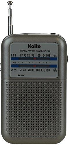 Kaito KA200S Pocket AM/FM Radio, Gray