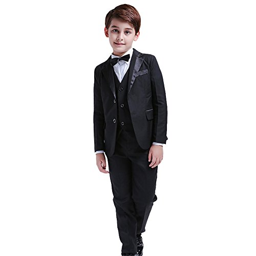 5Pcs Boys Suits Formal Blazer Classic Fit Tuxedo Set Wedding Party Black Suit (14)