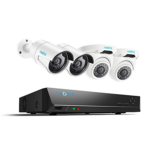 Reolink PoE Home Security Camera System 4 Megapixels Super HD 2560x1440 8 Channel NVR 2TB Hard Drive 2 Bullet & 2 Dome IP Cameras (Channel Video Camera Server)