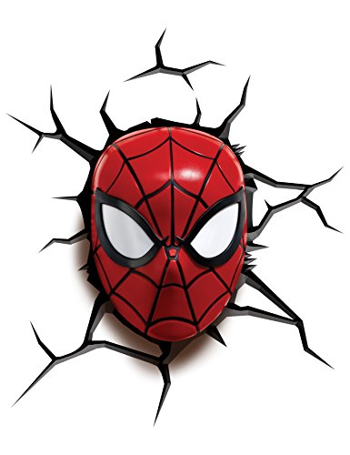 3D Light FX Marvel Mini 3D Deco Wall LED Night Light with Crack Wall Sticker, Spiderman Marvel Superhero Spider