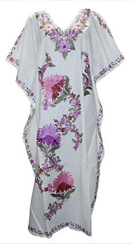 Odishabazaar Silk Kaftan Kashmiri Embroidered Calf Length Dress for Women (multi-10)