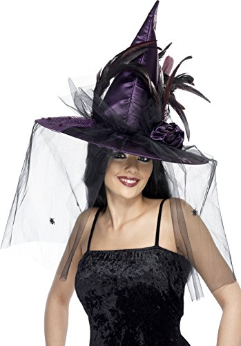 Smiffy's Women's Witch Hat with Feathers and Netting, Purple, One Size, 34924