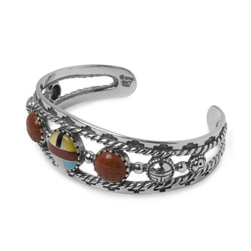 Sterling Channel Inlay - Southwest Spirit Roderick Tenorio Sterling Silver Channel Inlay Cuff Bracelet